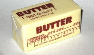 A stick of butter (Wikimedia Commons; Steve Karg, aka Skarg at en.wikipedia) [https://commons.wikimedia.org/wiki/File:Western-pack-butter.jpg]