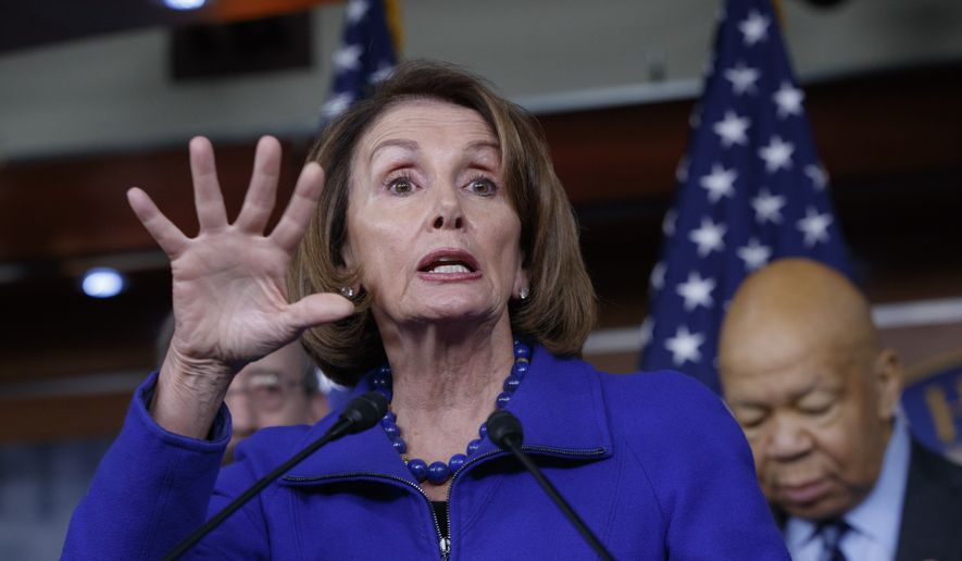 House Minority Leader Nancy Pelosi of Calif., joined at right by Rep. Elijah Cummings, D-Md., ranking member of the House Oversight and Government Reform Committee, speaks during a news conference on Capitol Hill in Washington, Tuesday, Feb. 14, 2017, calling for an investigation into President Donald Trump's relationship with Russia, including when Trump learned that his national security adviser, Michael Flynn, had discussed U.S. sanctions with a Russian diplomat. (AP Photo/J. Scott Applewhite)