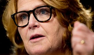 Sen. Heidi Heitkamp, D-N.D., questions Federal Reserve Chair Janet Yellen as she testifies in front of the Senate Banking Committee in Washington, Tuesday, Feb. 14, 2017. (AP Photo/Andrew Harnik)