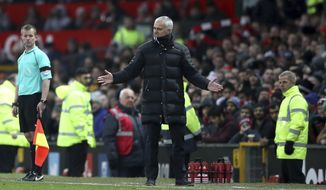 Manchester United's manager Jose Mourinho gestures on the touchline during the English  Premier League soccer match between Manchester United and Watford, at Old Trafford, in Manchester, England, Saturday, Feb. 11, 2017. (Nick Potts/PA via AP)