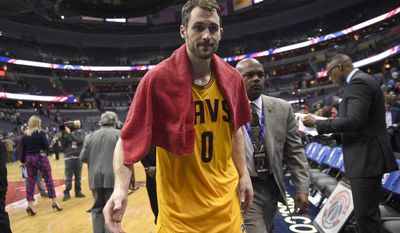 FILE - In this Feb. 6, 2017, file photo, Cleveland Cavaliers forward Kevin Love (0) leaves the court after an NBA basketball game against the Washington Wizards, in Washington. Love will be out at least six weeks following left knee surgery. Love had the operation on his left knee on Tuesday, Feb. 14, 2017, in New York. (AP Photo/Nick Wass, File)