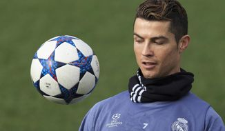 Real Madrid's Cristiano Ronaldo eyes the ball during a training session at the Valdebebas stadium ahead of Wednesday's Champions League soccer match between Real Madrid and Napoli, in Madrid, Spain, Tuesday, Feb. 14, 2017 . (AP Photo/Daniel Ochoa de Olza)