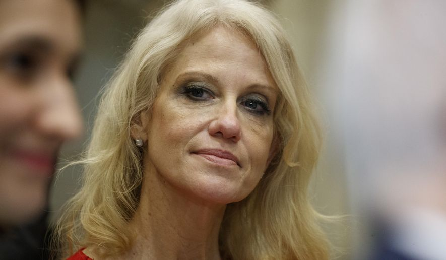 Kellyanne Conway, senior adviser to President Donald Trump, watches during a meeting with parents and teachers, Tuesday, Feb. 14, 2017, in the Roosevelt Room of the White House in Washington. (AP Photo/Evan Vucci) ** FILE **