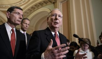 Senate Majority Leader Mitch McConnell of Ky., center, joined from left by Sen. John Barrasso, R-Wyo., and Sen. John Thune, R-S.D., takes questions from reporters about President Donald Trump's ousted national security adviser, Michael Flynn, Tuesday, Feb. 14, 2017, on Capitol Hill in Washington.  (AP Photo/J. Scott Applewhite)