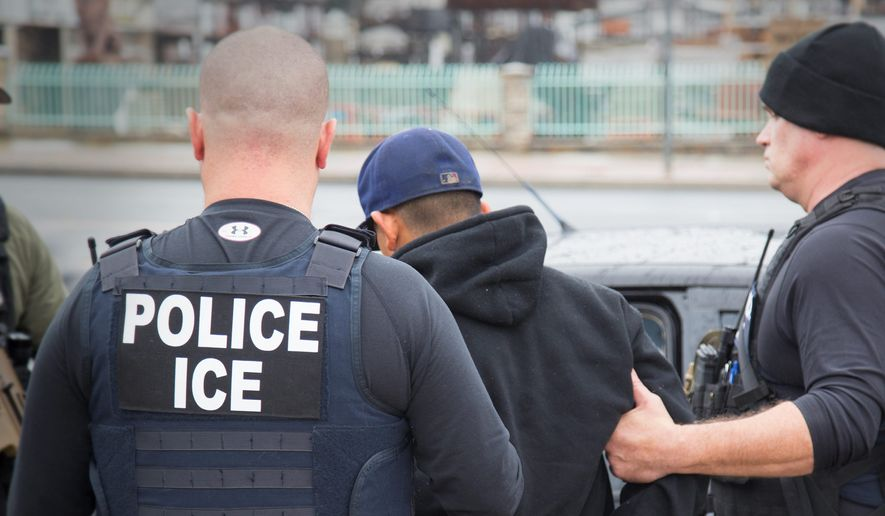 Foreign nationals were arrested this month during a targeted enforcement operation aimed at immigration fugitives, re-entrants and criminal aliens, which some see as a harsh crackdown under President Trump. (Associated Press)