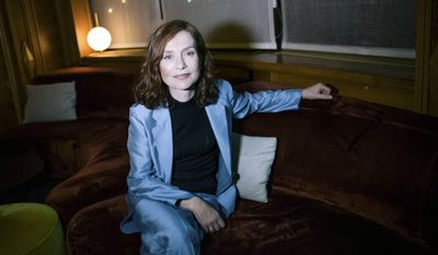 """FILE - This Jan. 24, 2017 file photo shows French actress Isabelle Huppert after an interview in Paris, France. Huppert is nominated for an Oscar for best actress in a leading role, for her work in the film, """"Elle"""". (AP Photo/Zacharie Scheurer, File)"""