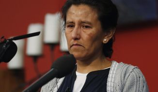 Jeanette Vizguerra, a Mexican woman seeking to avoid deportation from the United States, speaks during a news conference in a church in which she and her children have taken refuge Wednesday, Feb. 15, 2017, in Denver. U.S. immigration authorities have denied her request to remain in the country. (AP Photo/David Zalubowski)