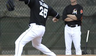 Miami Marlins manager Don Mattingly, right, watches pitcher Junichi Tazawa (25) throw during a spring training baseball workout Tuesday, Feb. 14, 2017, in Jupiter, Fla. (AP Photo/David J. Phillip)