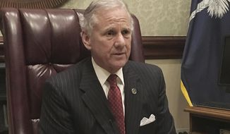 """South Carolina Gov. Henry McMaster speaks to a reporter during an interview, Wednesday, Feb. 15, 2017, in Columbia, S.C. McMaster says he remains an """"enthusiastic supporter"""" of President Donald Trump. Three weeks ago, McMaster ascended to the office after then-Gov. Nikki Haley was confirmed as Trump's ambassador to the United Nations. (AP Photo/Seanna Adcox)"""