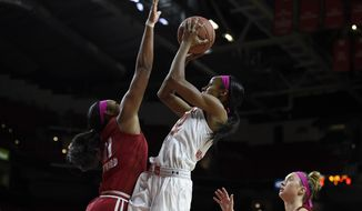 Maryland's Shatori Walker-Kimbrough, center, shoots between Wisconsin's Marsha Howard, left, and Courtney Fredrickson during the first half of an NCAA college basketball game, Wednesday, Feb. 15, 2017, in College Park, Md. (AP Photo/Gail Burton)