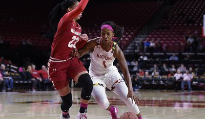 Maryland's Ieshia Small, right, drives to the basket as Wisconsin's Cayla McMorris defends during the first half of an NCAA college basketball game, Wednesday, Feb. 15, 2017, in College Park, Md. (AP Photo/Gail Burton)