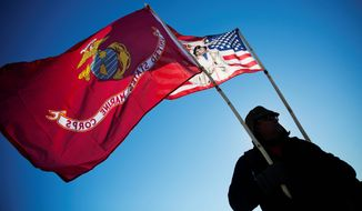 Marine Corps veterans like Audie Noneo of Susanville, California, went en masse to protest the Dakota Access oil pipeline. Veterans say the left, unlike the right, has reached out to them for help in such causes. (Associated Press)