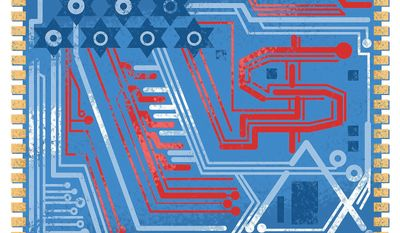 Illustration on economic and technological ties between America and Israel by Linas Garsys/The Washington Times