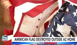 Mary Eklund of Gilbert, Arizona, had an American flag shredded outside her home on Feb. 14, 2017.  The family's heritage includes 16 military veterans. (Fox News screenshot)