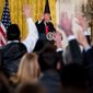 President Donald Trump calls on members of the press during a news conference, Thursday, Feb. 16, 2017, in the East Room of the White House in Washington. (AP Photo/Andrew Harnik)