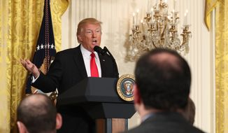 President Donald Trump speaks during a news conference, Thursday, Feb. 16, 2017, in the East Room of the White House in Washington. (AP Photo/Andrew Harnik)