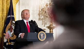President Donald Trump takes a question during a news conference, Thursday, Feb. 16, 2017, in the East Room of the White House in Washington. (AP Photo/Andrew Harnik)