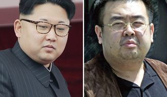 This combination of file photos shows North Korean leader Kim Jong-un, left, on May 10, 2016, in Pyongyang, North Korea, and Kim Jong-nam, right, exiled half brother of Kim Jong-un, in Narita, Japan, on May 4, 2001. (AP Photos/Wong Maye-E, Shizuo Kambayashi, File)