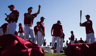 Members of the Philadelphia Phillies gather for a spring training baseball workout Thursday, Feb. 16, 2017, in Clearwater, Fla. (AP Photo/Matt Rourke)