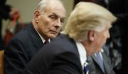 FILE - This is a Tuesday, Jan. 31, 2017 file photo of Homeland Security Secretary John Kelly as he listens at right as President Donald Trump speaks during a meeting on cyber security in the Roosevelt Room of the White House in Washington. Top world leaders, diplomats and defense officials are getting their first opportunity to meet in person with members of President Donald Trumps new administration, amid a laundry list of concerns including the American commitment to the NATO alliance and Washingtons posture toward Russia. Vice President Mike Pence, Defense Secretary Jim Mattis and Homeland Security Secretary John Kelly are leading the U.S. delegation to the annual Munich Security Conference.  (AP Photo/Evan Vucci, File)