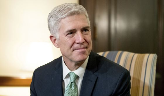 Supreme Court Justice nominee Judge Neil Gorsuch listed two religious liberty rulings among his top 10 on the 10th U.S. Circuit Court of Appeals and was quoted by Justice Sonia Sotomayor in a 2015 opinion. (Associated Press) ** FILE **