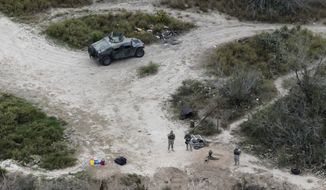 FILE - In this Feb. 24, 2015, file photo, members of the National Guard patrol along the Rio Grande at the Texas-Mexico border in Rio Grande City, Texas. The Trump administration is considering a proposal to mobilize as many as 100,000 National Guard troops to round up unauthorized immigrants, including millions living nowhere near the Mexico border, according to a draft memo obtained by The Associated Press. (AP Photo/Eric Gay, File)