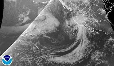 In this Feb. 17, 2017 satellite image released by the National Oceanic and Atmospheric Administration (NOAA) Satellite and Information Service's GOES-West, shows a powerful storm beginning to move into California as the saturated state faces a new round of wet weather that could trigger flooding and debris flows around the northern region. The brunt of the storm is expected to affect Southern California starting around midday Friday and into Saturday. Forecasters say rain will also spread into Central California and up to the San Francisco Bay Area. But the National Weather Service says only scattered light showers are occurring in the region north of Sacramento, where the damaged Oroville Dam continues to release water in advance of new storms. (National Oceanic and Atmospheric Administration via AP)
