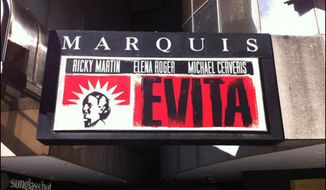 "A marquee for the 2012 Broadway revival of ""Evita"" is depicted here. In Feb. 2017, a high school outside of Annapolis, Md., produced a bilingual adaptation of the Andrew Lloyd Webber classic, The Capital newspaper reported. (Playbill: http://www.playbill.com/article/marquee-value-evita-at-the-marquis-theatre-com-186785)"