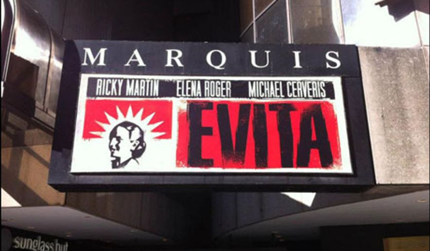 """A marquee for the 2012 Broadway revival of """"Evita"""" is depicted here. In Feb. 2017, a high school outside of Annapolis, Md., produced a bilingual adaptation of the Andrew Lloyd Webber classic, The Capital newspaper reported. (Playbill: http://www.playbill.com/article/marquee-value-evita-at-the-marquis-theatre-com-186785)"""