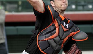 San Francisco Giants' Buster Posey throws during a spring training baseball workout, Friday, Feb. 17, 2017, in Scottsdale, Ariz. (AP Photo/Matt York)