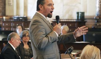 State Sen. Ty Masterson, R- Andover denounces a tax bill the Senate passed Friday, Feb. 17, 2017, in Topeka, Kan. (Thad Allton/The Topeka Capital-Journal via AP)