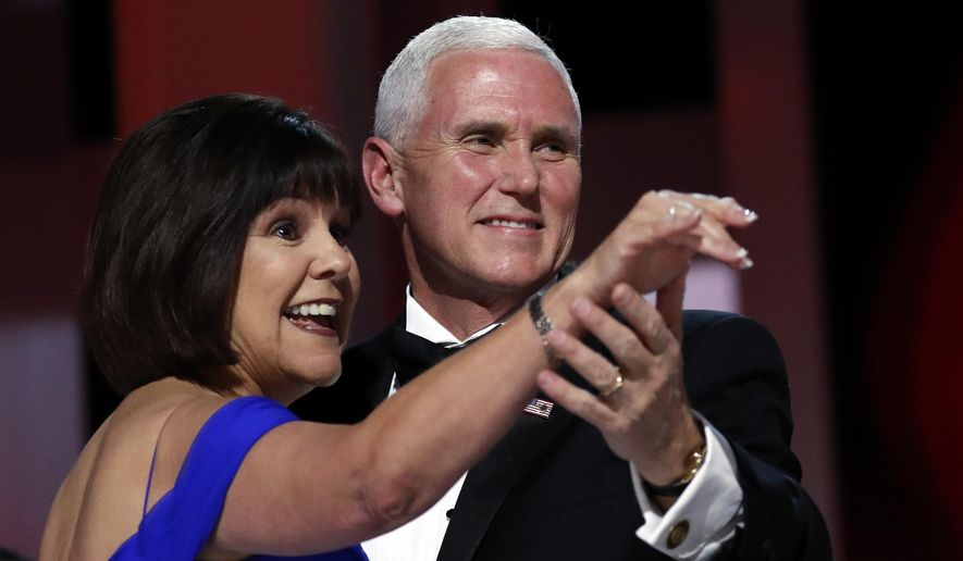 Vice President Mike Pence dances with his wife Karen at the Liberty Ball in Washington, in this Jan. 20, 2017, file photo. (AP Photo/Alex Brandon, File)