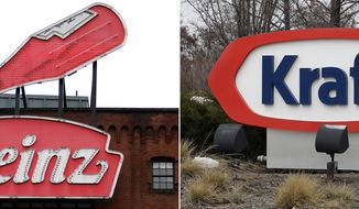 FILE - At left, in a March 25, 2015, file photo, a Heinz ketchup sign is shown on the side of the Senator John Heinz History Center in Pittsburgh. At right, also in a March 25, 2015, file photo, the Kraft logo appears outside of their headquarters in Northfield, Ill. U.S. food giant Kraft Heinz Co. is confirming that it's made an offer to buy Europe's Unilever and been rejected. The company said Friday, Feb. 17, 2017, that talks are ongoing with the Dutch company, but that no deal can be assured. (AP Photo/File)