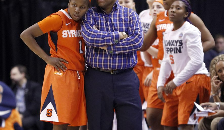 FILE- In this April 5, 2016, file photo, Syracuse head coach Quentin Hillsman and Alexis Peterson (1) talk during the second half of the championship game against Connecticut at the women's Final Four in the NCAA college basketball tournament in Indianapolis. The Syracuse backcourt of senior Alexis Peterson and redshirt senior Brittney Sykes is the highest-scoring duo in the nation. Peterson is averaging 23.6 points, third nationally, and Sykes is 22nd at 19.4. (AP Photo/AJ Mast)