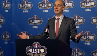 NBA Commissioner Adam Silver arrives at a press conference before NBA All-Star Saturday Night events in New Orleans, La., Saturday, Feb. 18, 2017. (AP Photo/Max Becherer)