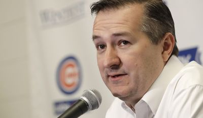 Chicago Cubs owner Tom Ricketts talks during a news conference Saturday, Feb. 18, 2017, in Mesa, Ariz. (AP Photo/Morry Gash)