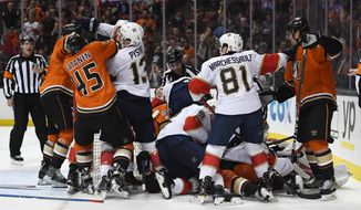 Members of the Anaheim Ducks and the Florida Panthers scuffle during the second period of an NHL hockey game, Friday, Feb. 17, 2017, in Anaheim, Calif. (AP Photo/Mark J. Terrill)