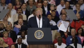 President Donald Trump during a campaign rally Saturday, Feb. 18, 2017, in Melbourne, Fla. (AP Photo/Chris O'Meara)