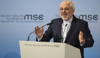 Iran Foreign Minister Mohammad Javad Zarif speaks on the last day of the Munich Security Conference in Munich, southern Germany, Sunday, Feb. 18, 2017. (Matthias Balk//dpa via AP)