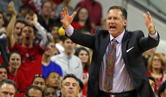 North Carolina State head coach Mark Gottfried protests a call during the second half of an NCAA college basketball game against Notre Dame in Raleigh, N.C., Saturday, Feb. 18, 2017. Notre Dame won 81-72. (AP Photo/Karl B DeBlaker)