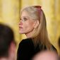 "An ""alternative"" Twitter account for President Trump claimed satirically that Kellyanne Conway was encouraged to publicly tout Ivanka Trump's clothing line. (Associated Press)"
