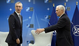 Vice President Mike Pence spoke with NATO Secretary-General Jens Stoltenberg in Brussels this week. (Associated Press)