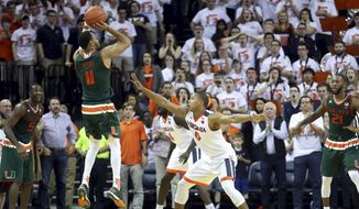 Miami guard Bruce Brown (11) makes a 3-point shot over Virginia guard Devon Hall (0) during overtime of an NCAA college basketball game Monday, Feb. 20, 2017, in Charlottesville, Va. Miami defeated Virginia 54-48. (AP Photo/Ryan M. Kelly)