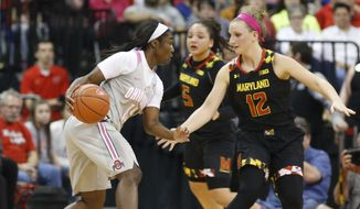 Ohio State's Linnae Harper, left, looks for an opening as Maryland's Kristen Confroy defends during the first half of an NCAA college basketball game Monday, Feb. 20, 2017, in Columbus, Ohio. (AP Photo/Jay LaPrete)