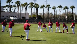 Philadelphia Phillies catchers practice during a spring training baseball workout Thursday, Feb. 16, 2017, in Clearwater, Fla. (AP Photo/Matt Rourke)