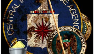 Illustration on the need to clean house at U.S. intelligence agencies by Alexander Hunter/The Washington Times