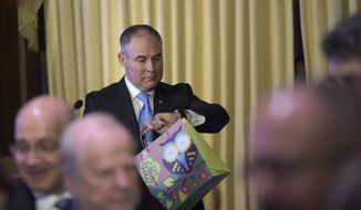 Environmental Protection Agency (EPA) Administrator Scott Pruitt looks at his watch after speaking to employees of the EPA in Washington, Tuesday, Feb. 21, 2017. (AP Photo/Susan Walsh)