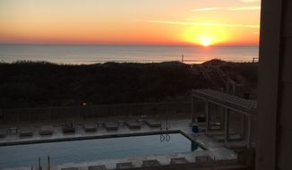Sunrise over the Atlantic Ocean as seen from the Sanderling Resort, located on North Carolina's Outer Banks.  (Eric Althoff/The Washington Times)