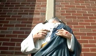 A statue outside the Cottage Avenue Pentecostal Fellowship in Indianapolis, Indiana, was the target of vandalism twice in two weeks. Its status of Jesus has been beheaded multiple times. (Fox 59 Indiana screenshot)