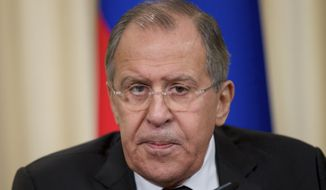 Russian Foreign Minister Sergey Lavrov speaks during a news conference after his meeting with Swedish Foreign Minister Margot Wallstrom in Moscow, Russia, on Tuesday, Feb. 21, 2017. (AP Photo/Ivan Sekretarev) ** FILE **
